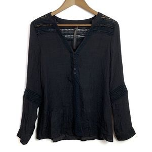 NWT RENEE C Black Eyelet Embroidered Blouse Top L